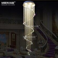 Спираль Длинные Хрустальные Потолочные Светильники Люстры de cristal кристалл освещение Лестницы Лампы для потолка Lamparas де Techo