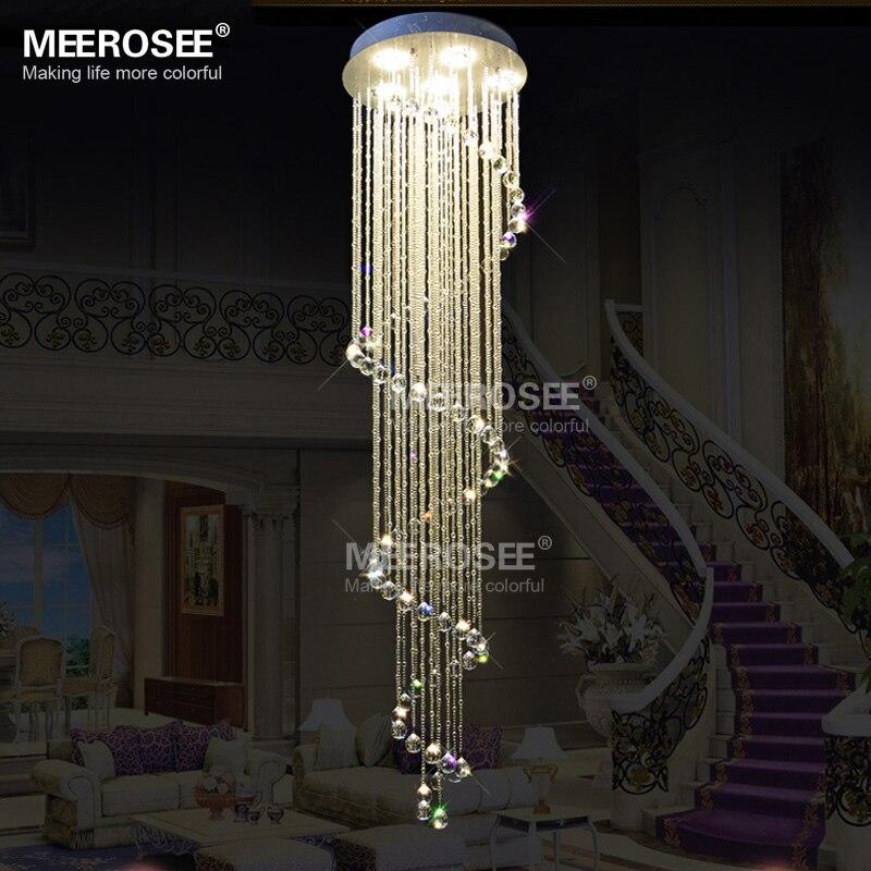 Long Ceiling Light Fixture: Spiral Long Crystal Ceiling Light Fixture Lustres .,Lighting