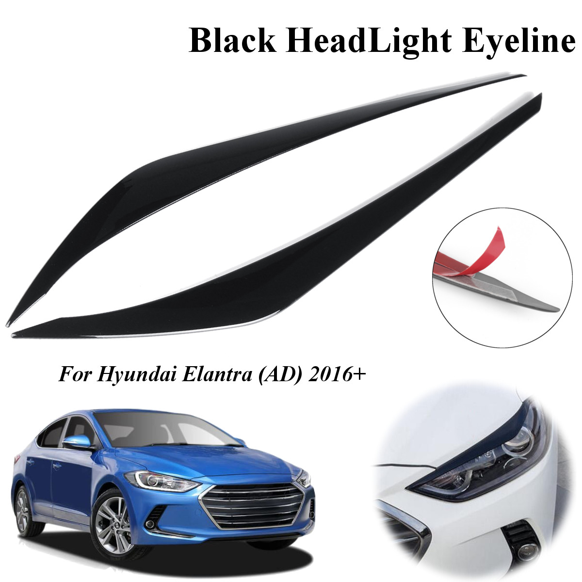 Pair car headlight eyeline point molding abs decoration trim cover for hyundai elantra ad 2016 2017