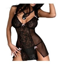 Hot Sex Lingerie Tulle Perspective V Deep Sexy Ladies Black Uniform Babydoll Dress White Lace Lingerie Sleepwear Teddies