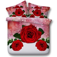 3D Red Rose Comforter sets Bedding duvet cover bed in a bag sheets Queen size Super King full twin roses department store 5PCS