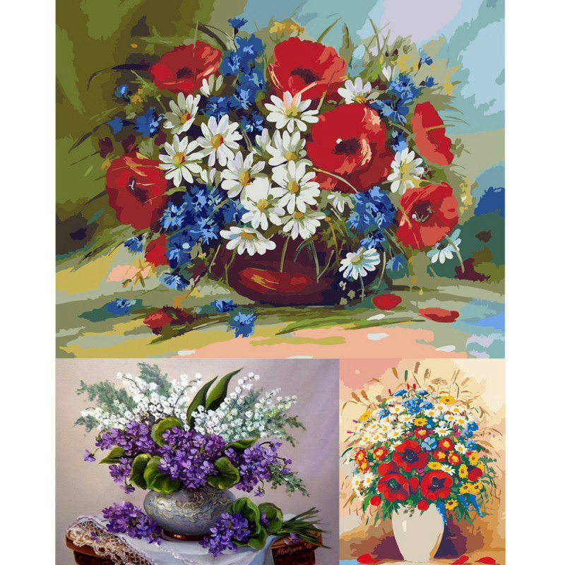 2018 New DIY Flower Theme Painting By Numbers Kits Linen ...