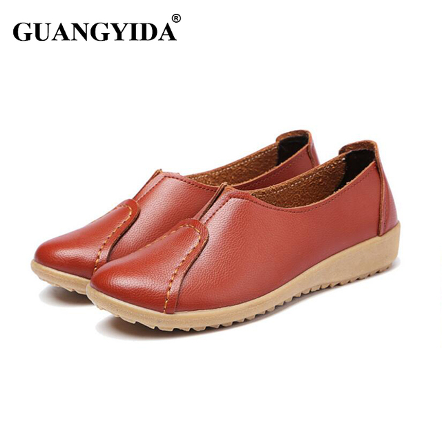 2017 Spring and autumn genuine leather female models flats Peas shoes soft bottom N08