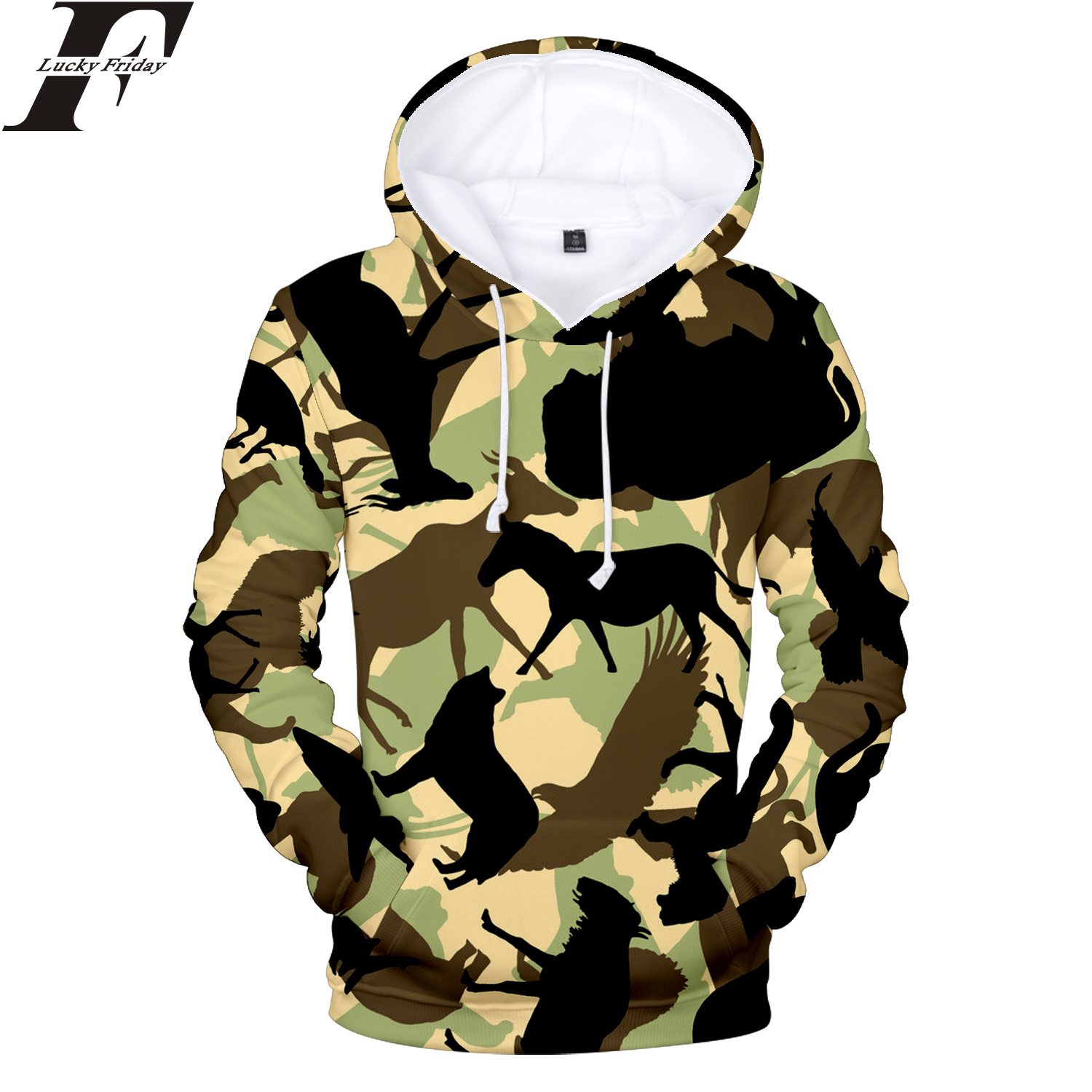 LUCKYFRIDAYF 2018 Camouflage Style 3D Hoodies Sweatshirts Women/Men Hoodies hit hop Hoodies Patchwork Style Casual Clothes