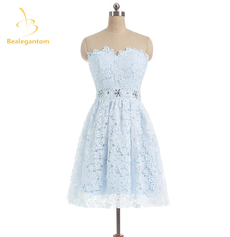d45e0716da7 Bealegantom New Mini A-Line Lace Short Homecoming Dresses 2018 With Beaded Appliques  Prom Party Dresses Graduation Dress QA1112
