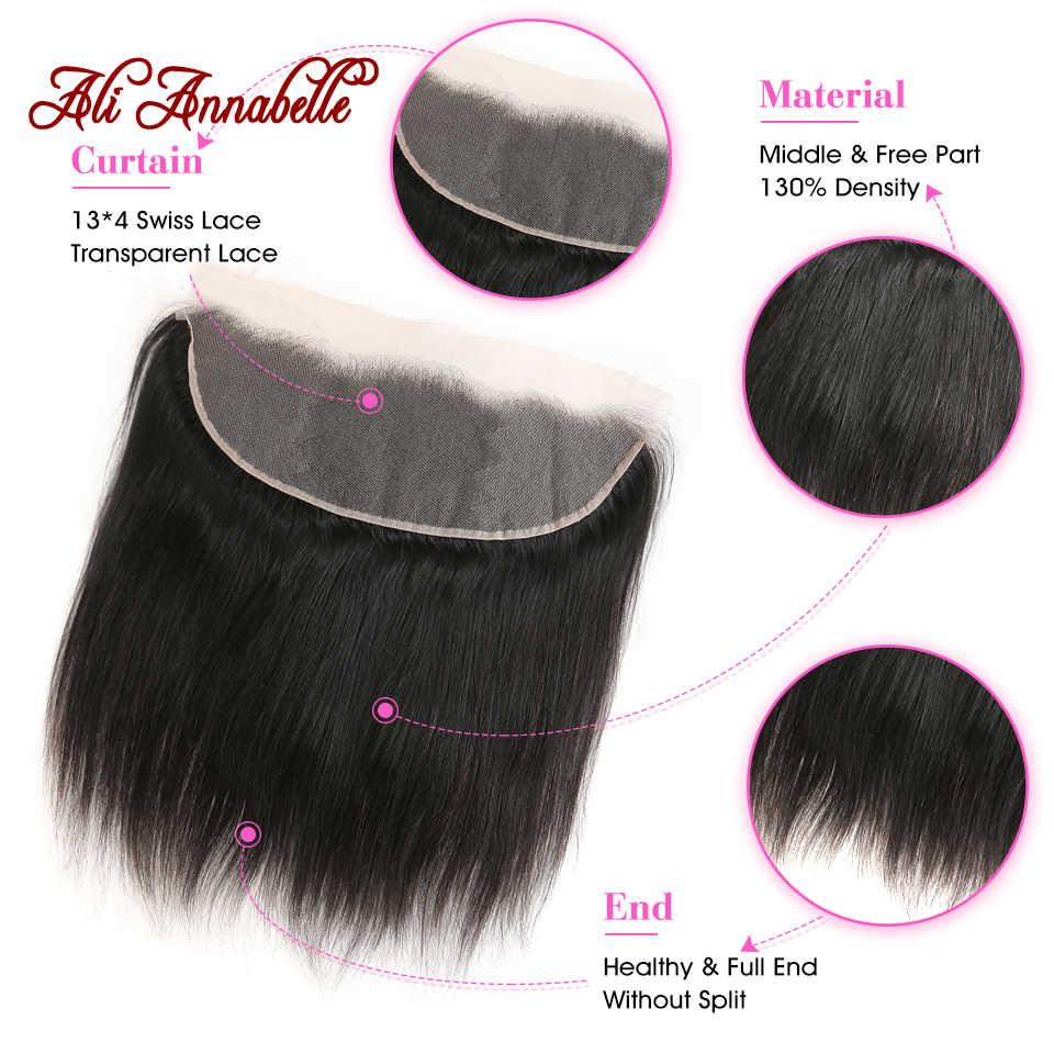 13*4 человеческие волосы кружева лобовое закрытие прозрачное швейцарское кружево бразильские прямые волосы Кружева Фронтальная с волосами младенца 10-22 дюймов