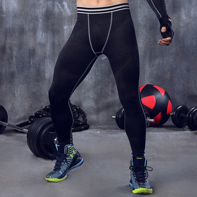 Men compression pants base layer tights exercise fitness long pants trousers