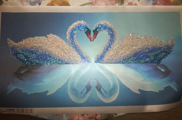 5d diy mosaic art needlework diamond painting swan rhinestone cross stitch  animal wedding diamond swans embroidery ... eeb988bd8376