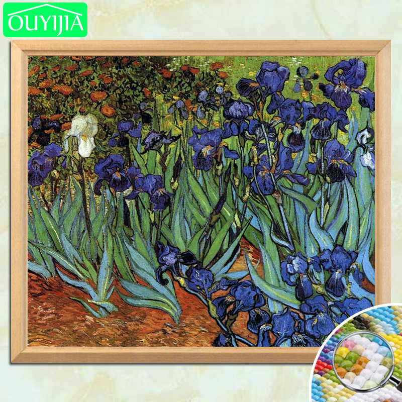 "Van Gogh Famous Painting ""Irises"" 5D DIY Diamond Painting Full Square Diamond Embroidery Rhinestones Mosaic Picture Cross Stitch"
