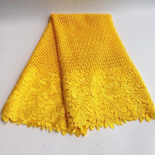 באיכות גבוהה אפריקאי כימי תחרה בד מים מסיס צהוב ניגרי תחרת חתונה שמלת אפריקאי תחרת בד SML7419 12