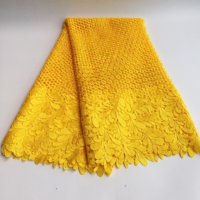 High Quality African Chemical Lace Fabric Water Soluble Yellow Nigerian Guipure Wedding Dress African Lace Fabric SML7419 12