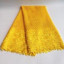 Yüksek Kalite Afrika Kimyasal Dantel Kumaş Suda Çözünür Sarı Nijeryalı Gipür düğün elbisesi Afrika Dantel Kumaş SML7419 12