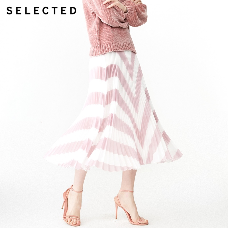 SELECTED Spring New Women's Trend Color Matching Striped Pleated Skirt S|41914C511