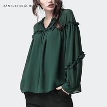 Plus Size Loose-Fitting Women' Chiffon Blouse Long Sleeve Elegant Fungus Spliced Beading O-Neck Women Spring Summer Shirt Tops цена