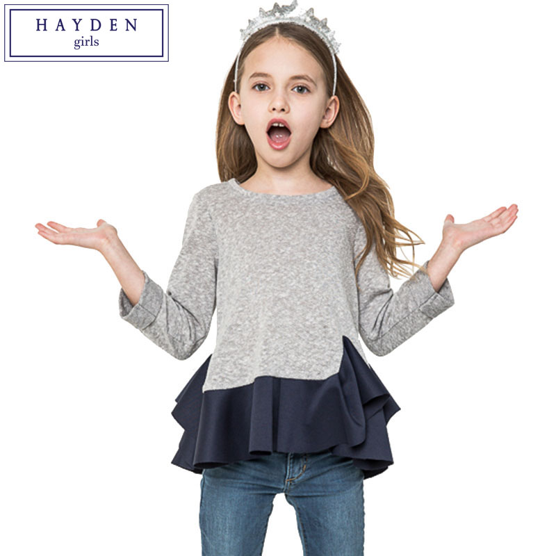 HAYDEN Girls Ruffle Tee Shirt Enfant Fille 10 12 Ans Girls Ruffle Top T-Shirt Long Sleeve 2017 Spring Girl Clothing 7 to 14 Year ruffle trim solid tee