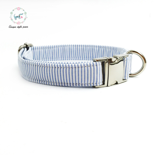 Blue striped Collar set with Leash and Bow Tie 3