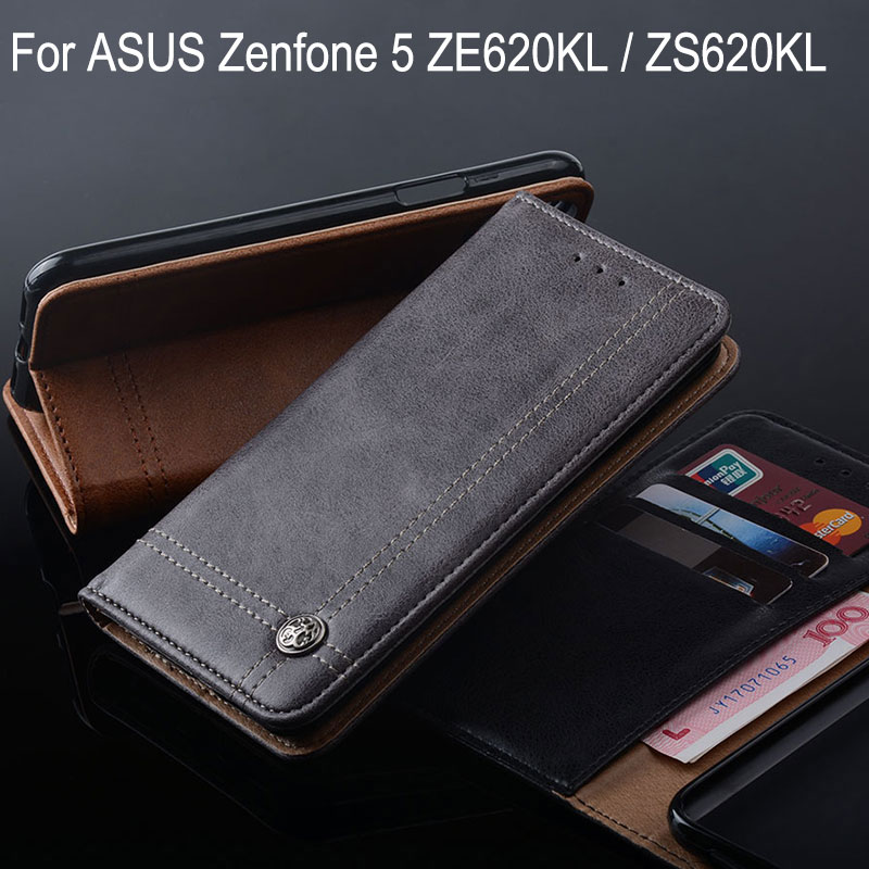 For ASUS Zenfone 5 ZE620KL Case Luxury Leather with Stand Flip Cover For asus ZenFone 5 ZS620KL ZE620KL Cases Without magnets