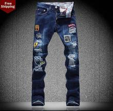 Синий вышитый знак Отверстия мужские джинсы 1 джинсы брюки человек прямо персонализированные luxury brand мода упругие Ноги брюки