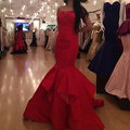 2016 Novo Design Da Sereia Vestido de Noite Strapless Vermelho Longo do baile de Finalistas Vestidos de Noite Sob Encomenda