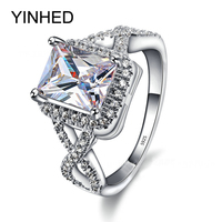 YINHED Infinite Love Wedding Rings for Women Solid 925 Sterling Silver Engagement Ring 7mm Princess Cut Cubic Zircon Ring ZR399