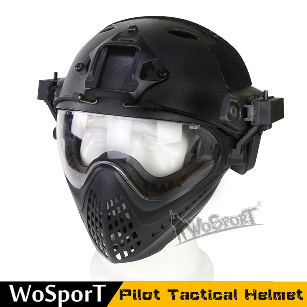 WoSporT New Tactical helmet with Mask Military Airsoft Army WarGame Motorcycle Cycling Hunting Riding Outdoor ActivitiesWoSporT New Tactical helmet with Mask Military Airsoft Army WarGame Motorcycle Cycling Hunting Riding Outdoor Activities