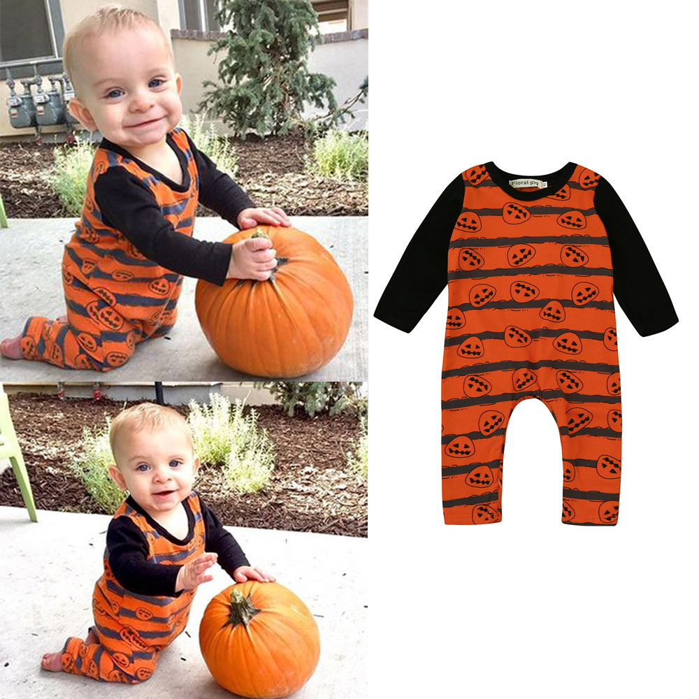 CHAMSGEND 2017 Newborn Toddler Baby Boys Girls Halloween Pumpkin Romper Jumpsuit Outfit Clothes Sep8 Dropship