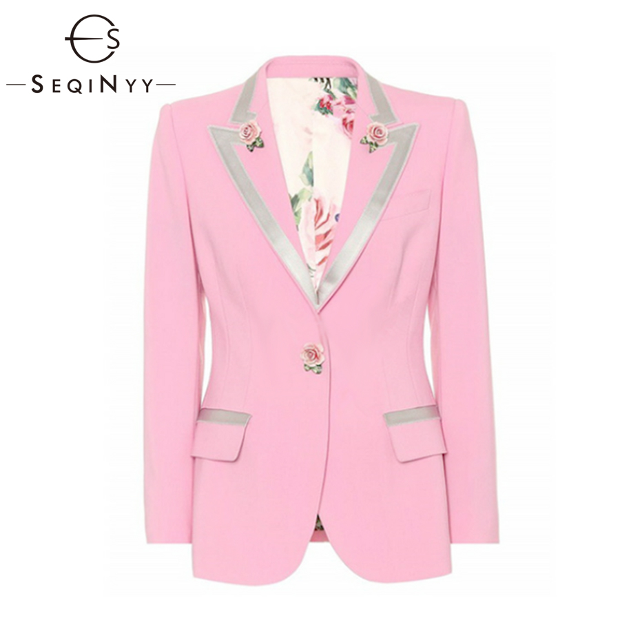 SEQINYY Fashion Blazer High Quality Women's Early Autumn 2018 Rose Flowers Buttons Notched Long Sleeve Print lining Pink Jacket-in Blazers from Women's Clothing    1