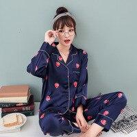 PIGIAMA Sleep Lounge Pajama Set Sexy Satin Sleepwear Women Summer Pyjama Femme Fashion Print Pajamas for Women