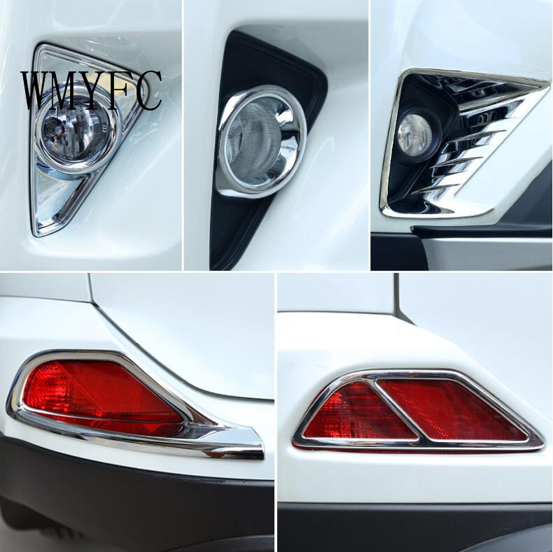 For Toyota RAV4 <font><b>RAV</b></font> <font><b>4</b></font> 2016 2017 <font><b>2018</b></font> ABS Chrome Front+ Rear Fog lamps cover Trim Fog lamp shade Trim Car Accessories image