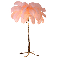 Phube Lighting The Ostrich Feather Lamp Light Modern Copper Floor Light Living Room Hotel Floor Lighting Free Shipping