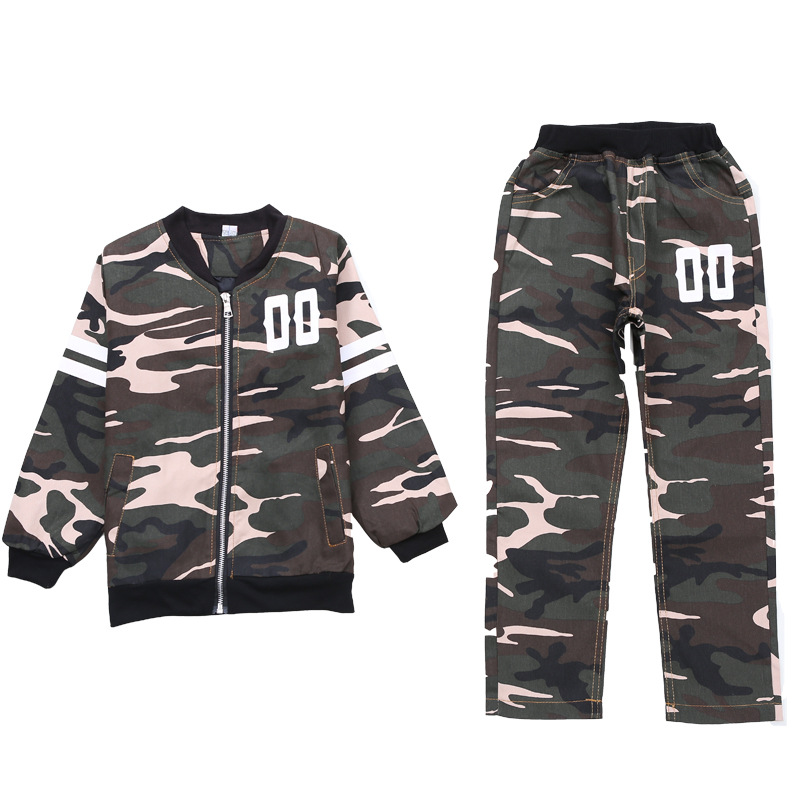 Image 5 - Childrens Suit Spring and Autumn Clothing Boys and Girls Sports Fashion Baseball Collar New Big Childrens Camouflage ClothingClothing Sets   -
