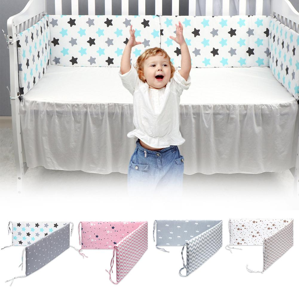 Breathable Mesh Crib Liner for Girl /& Boys Baby Safe Crib Nursery Bumper Pads White and Pink Cloth Trim 2 Pieces