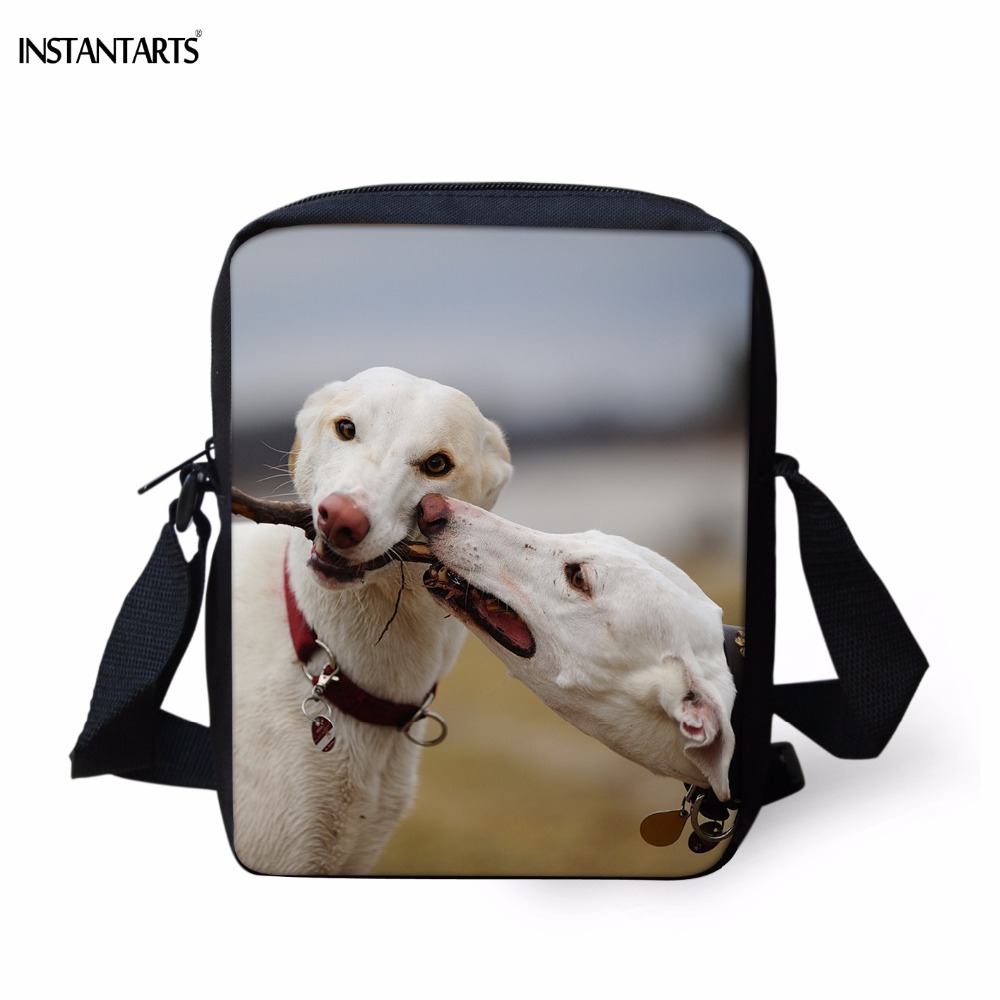 INSTANTARTS Funny 3D Puppy Greyhound Print Women Crossbody Bags Fashion Brand Design Female Messenger Bags Travel Shoulder Bags