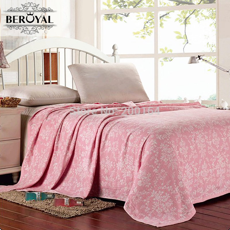 New 2017 Throw Blanket -- 100% Cotton Blankets Super Soft Blanket on bed for Adult Floral Air-Condition 150*200cm Free Shipping new 2017 throw blanket 1piece 150 200cm 100