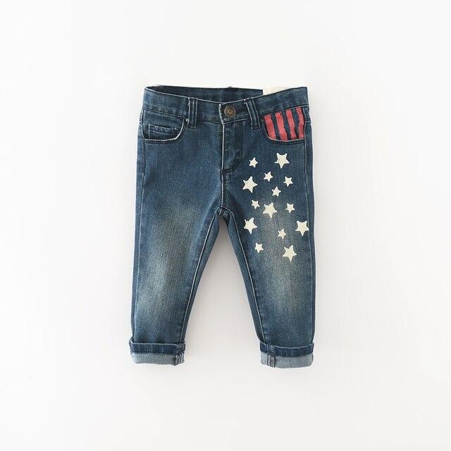 Новый 2016 модный бренд девочка мальчик джинсы Весна Осень Звезды печати детские джинсы штаны Случайные Дети Одежда Для мальчиков Девочек 12 М-4 Т