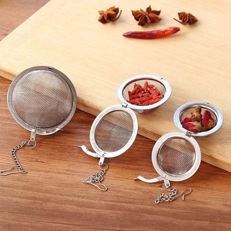 3 Size Stainless Steel Tea Pot Infuser Sphere Mesh Filter Loose Tea Leaves Strainer Handle Kitchen Gadgets