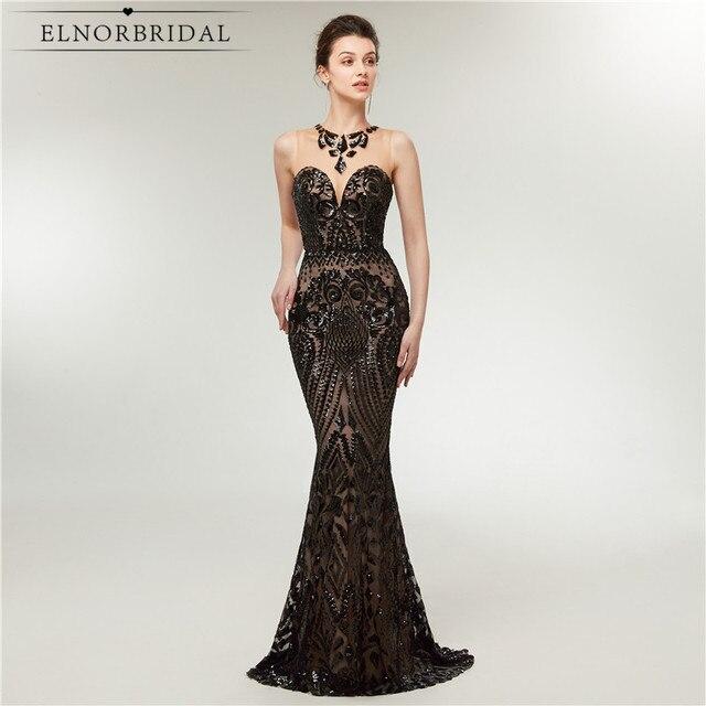 34e92bc8b58 Robes de soirée sirène arabe noire 2019 paillettes Sukienka Elegancka  formelle femmes Robe de soirée Robe