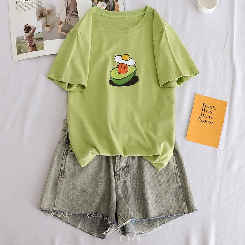 2019 Summer Female Cute Cartoon Fruit Avocado Green Graphic Print Tshirt Women funny Korean Loose Tees Tops Harajuku Ulzzang in T Shirts from Women 39 s Clothing