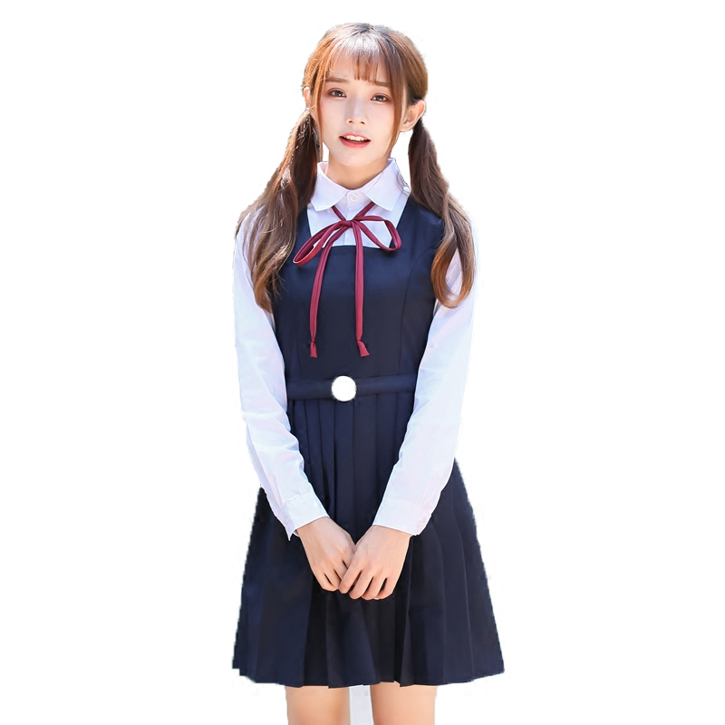 94e01fb28 Spring Japanese School students Girl Uniform Naval College Style Sailor  Uniforms Suit Japanese Korea Girls Student Uniform Sets-in School Uniforms  from ...