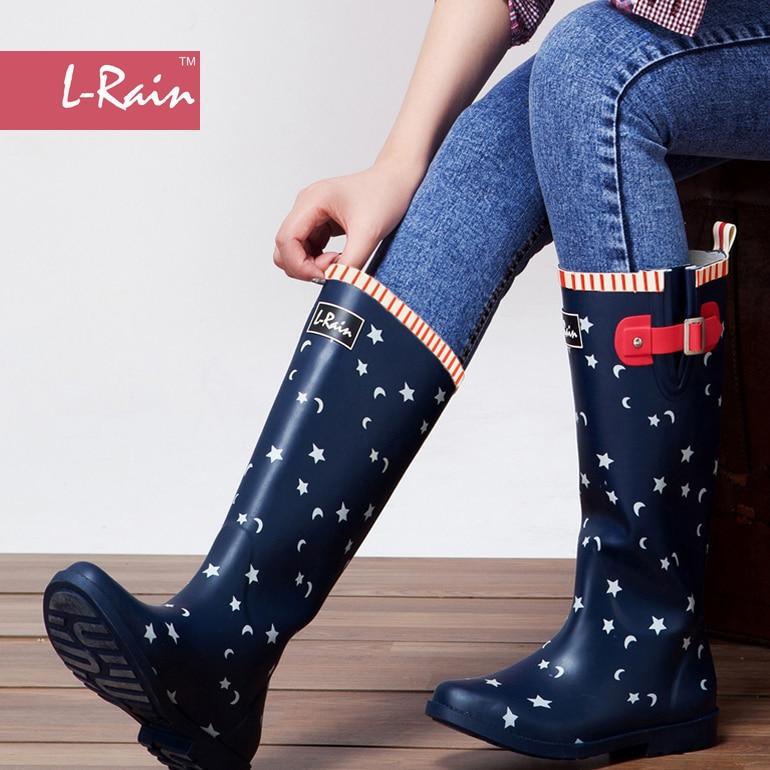 new l pattern knee high boots