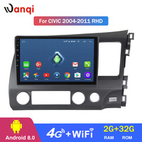 4G Lte All Netcom Android 8.0 Car dvd player Central multimedia for RHD Honda Civic 2004 2011 Stereo GPS Navigation
