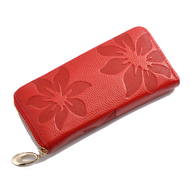 Women Wallets Fashion Flower Pattern Genuine Leather Wallet Women Clutch Wallets Female Vintage Clutch Bag Coin Purse Women