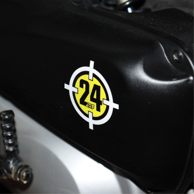 2pcs reflective motorcycle racing stickers cross target 24 car stickers for toni elias 24 6x6cm