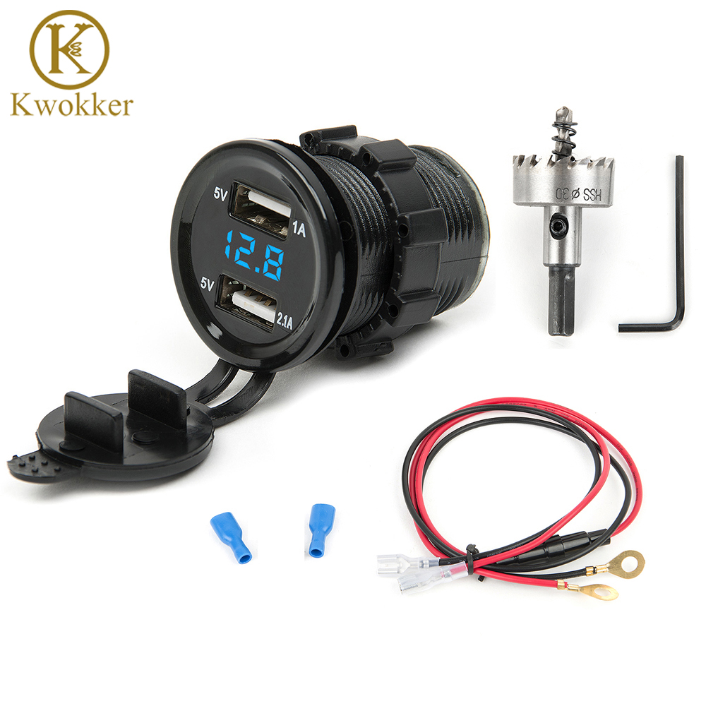 12v dual usb car electronic car charger adapter cigarette lighter socket led digital voltmeter meter [ 1000 x 1000 Pixel ]