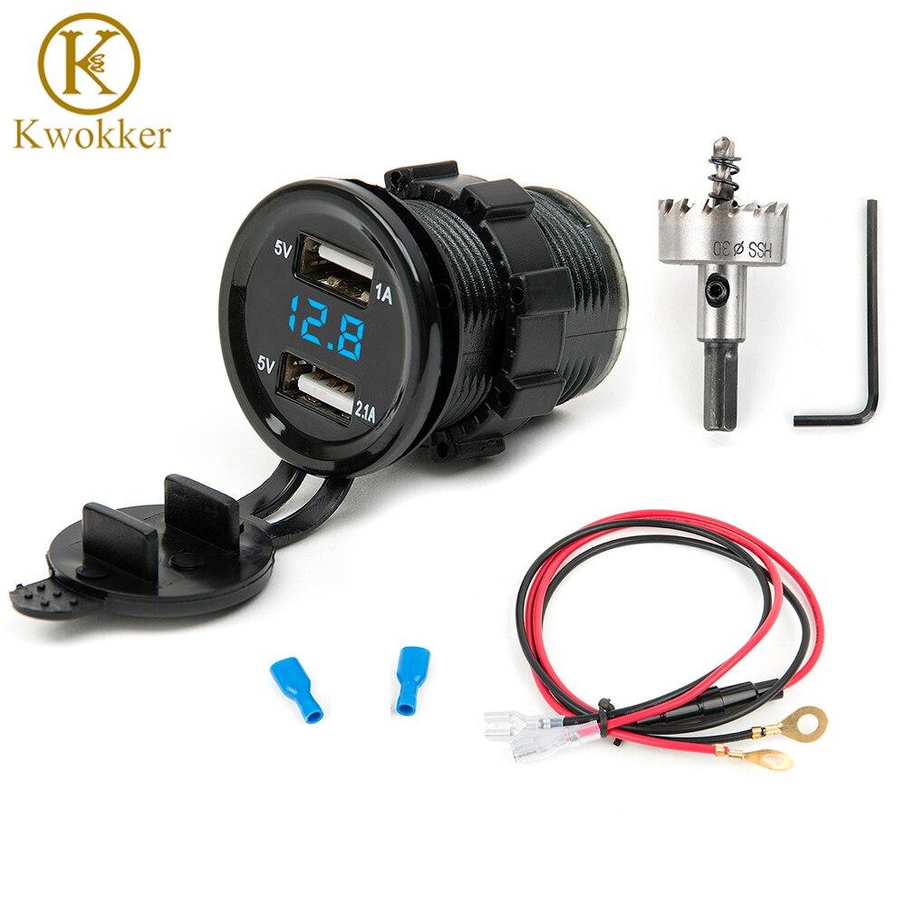 12V Dual USB Car Electronic Car Charger Adapter Cigarette Lighter Socket +LED Digital Voltmeter Meter+30mm HSS Drilling Hole Saw
