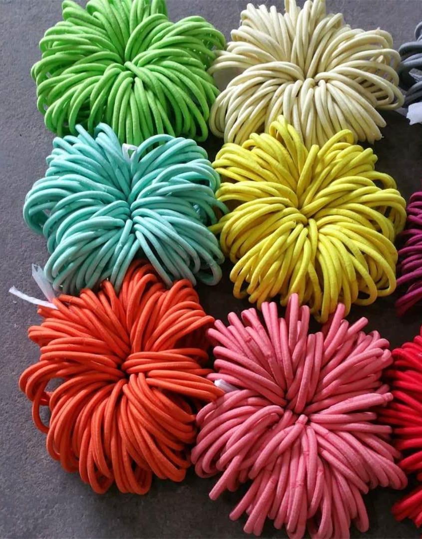 5000pcs 4mm thick Elastic Hair Bands Ponytail Bobbles Hair Elastics Bobbles Girls Hair Bands Ponios Mix color 14cm length