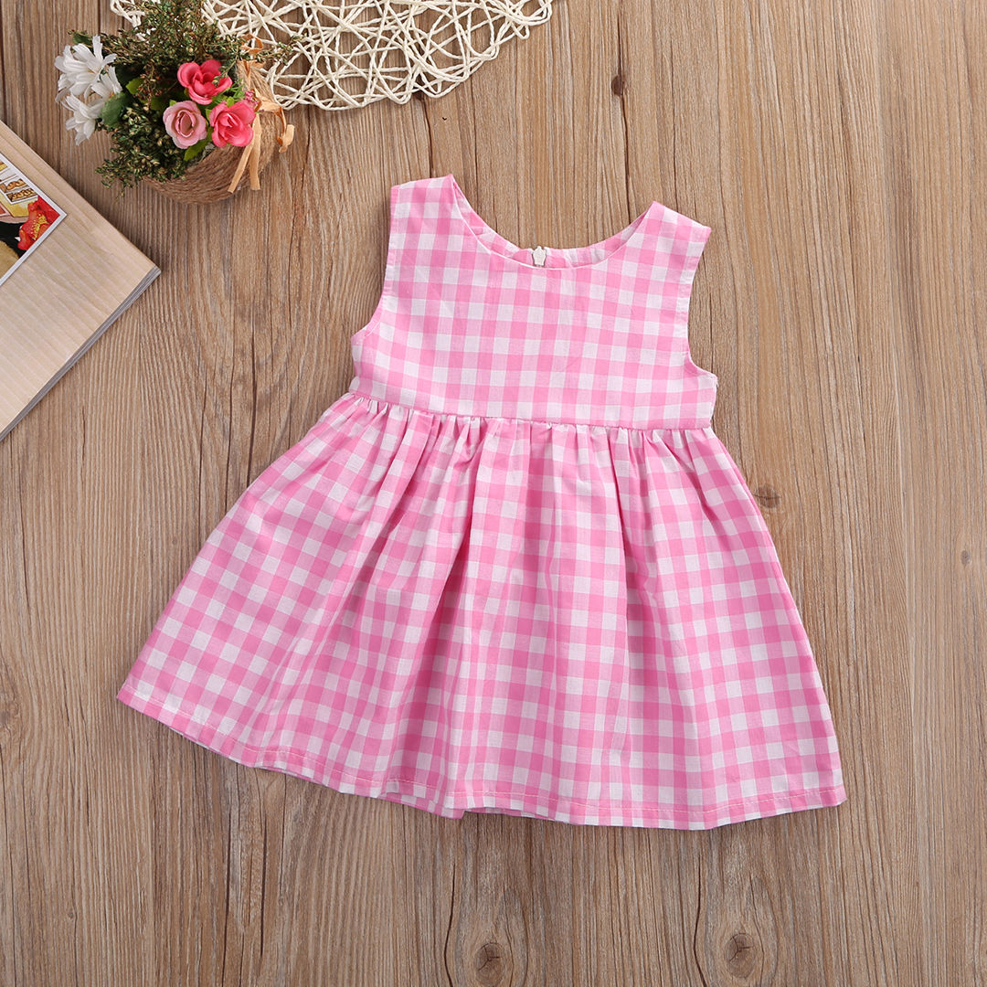 Summer-Princss-Newborn-Baby-Girls-Casual-Sweet-Dress-Sleeveless-Pink-Checked-Dresses-New-Fashion-0-24M-1