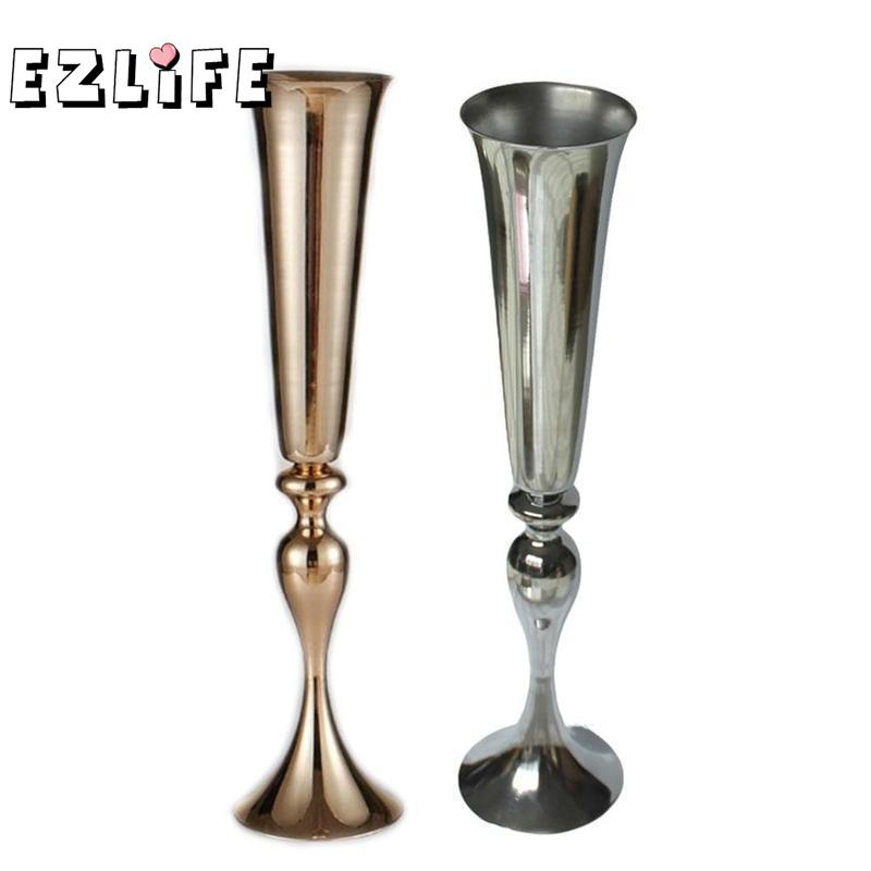 1pc Silver/ Gold Plated Metal Table Vase Wedding Centerpiece Event Road Lead Flower Rack Home Decoration Wed9953 Meticulous Dyeing Processes Home & Garden Home Decor