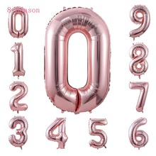 8-Season 0-9 Number Balloons Rose Gold Silver Digit Globos Foil Wedding Birthday Party Decorations Baby Shower