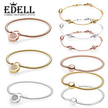 7c9a948b3 EDELL 100% 925 Sterling Silver MOMENTS SMOOTH BRACELET Shine Modern  LovePods Bracelet ROSE BRACELET WITH SIGNATURE PADLOCK CLASP
